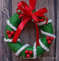 Needle Felting on Styrofoam - Christmas Wreath