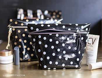 Oil Cloth Makeup Bag and Brush Roll