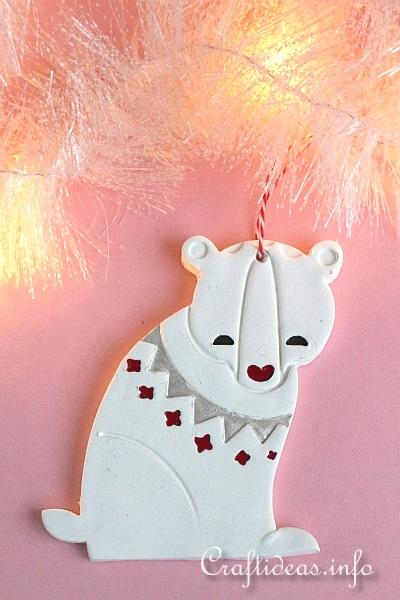 Painted Clay Bear Ornament