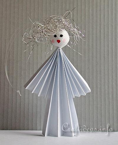 Free paper craft idea for christmas paper angel ornament for Angel decoration template