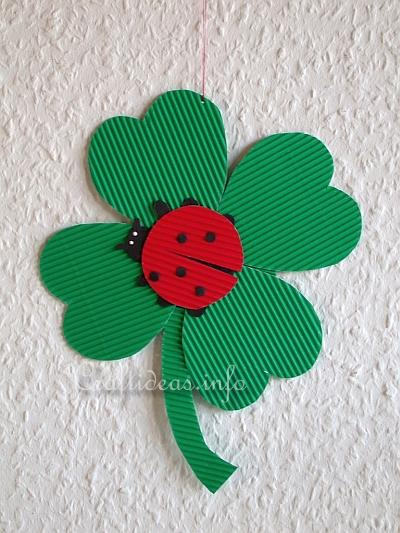 paper craft for kids lady bug on a clover