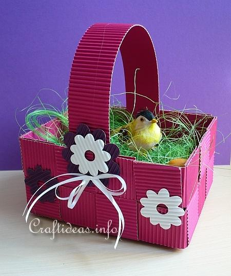 Paper Craft For Easter Woven Corrugated Cardboard Easter Basket