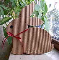 Paper Craft for Easter - Brown Gift Box Easter Bunny