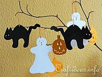 Paper Craft for Halloween - Halloween Cat, Pumpkin and Ghost Paper Figures