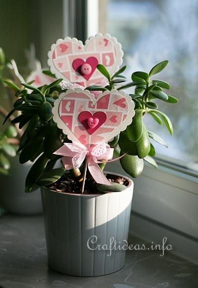 Paper Craft for Spring - Paper Heart Plant Stick 2
