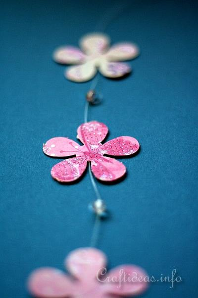 Paper Craft for Spring - Scrapbook Paper Flower and Bead Garland