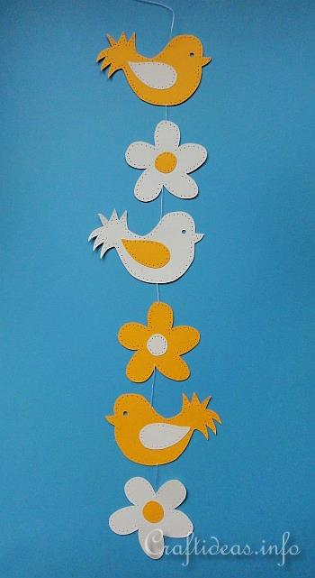 Free Paper Craft Ideas Paper Piecing Bird And Flowers Paper Chain