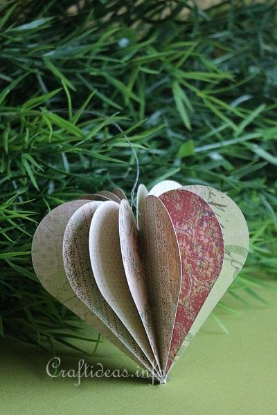 Paper Craft for Valentine's Day - 3-D Paper Heart Decoration 2