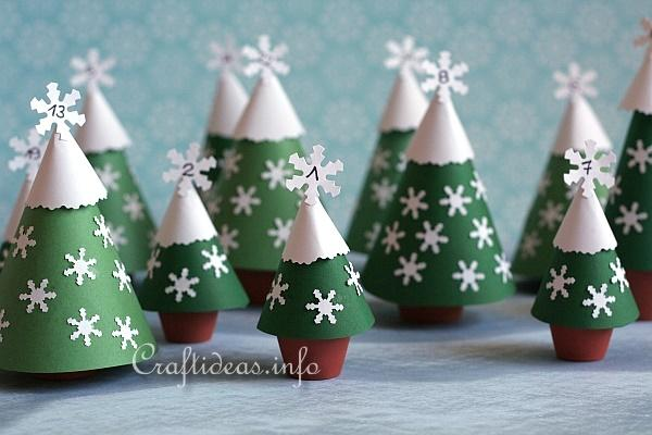paper crafts for christmas advents calendar with clay pot trees - Christmas Paper