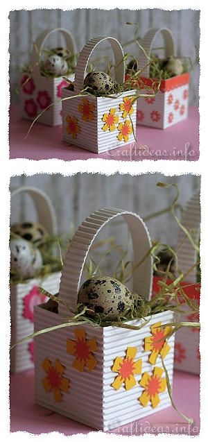 Paper Crafts for Easter - Mini Easter Baskets with Eggs