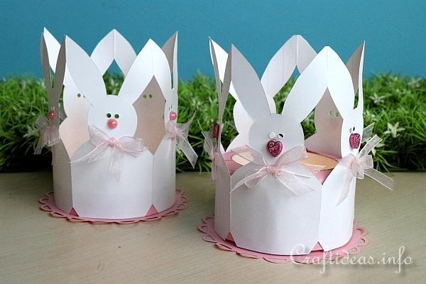 Paper Easter Bunnies Tea Light Holder