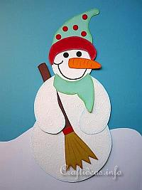 Paper Piecing Craft for Winter - Snowman Decoration