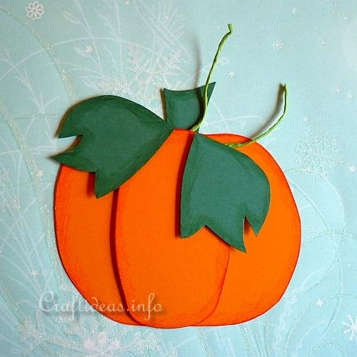 Fall craft for kids paper pumpkin window or wall decoration for Fall decorating ideas with construction paper