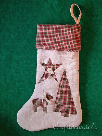 patchwork and sewing craft for christmas country stocking