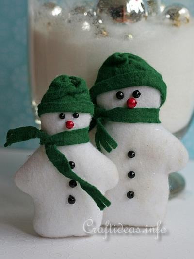 Patchwork and Sewing Craft for Christmas - Felt Snowman Pair