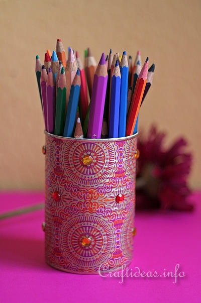 Summer Recycling Craft Idea Pencil Holder With India Design