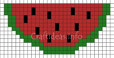 Perler Beads or Fuse Beads Watermelon Pattern