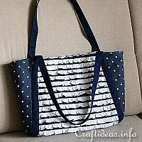 Picnic Tote - Blue and White