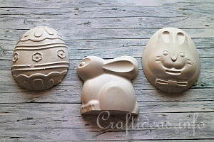 Plaster of Paris Easter Bunny and Eggs