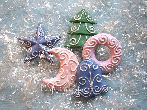 Plaster of Paris Refrigerator Magnets - Pastel Colored Christmas Shapes - Craft Idea For Christmas - Plaster Of Paris Christmas Ornaments