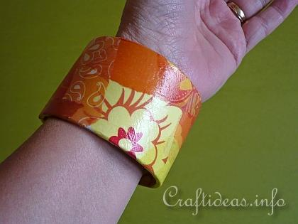 Recycling Craft - Bangle Decorated with Decopatch