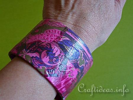 Recycling Craft - Bangle Decorated with Decopatch 2