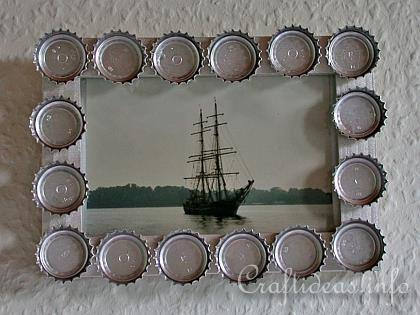 Recycling Craft - Bottle Cap Picture Frame