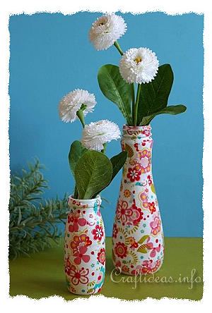 Recycling Craft - Colorful Vases Using Plastic Bottles