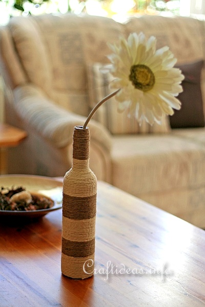 Recycling Craft - Glass Bottle Wrapped with Jute Yarn 1