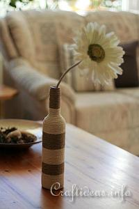 Recycling Craft - Glass Bottle Wrapped with Jute Yarn