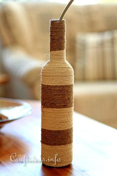 Recycling Craft - Glass Bottle Wrapped with Jute Yarn 2
