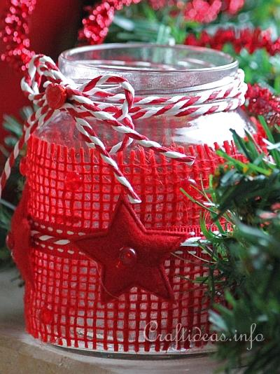 Christmas Recycling Craft Tea Light Or Votive Jar For