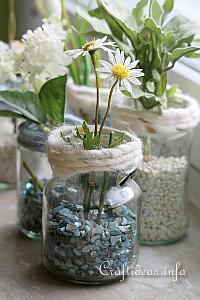Recycling Craft Using Jars - Summer Flower Arrangement
