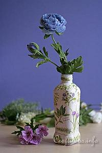 Recycling Craft With Bottles - Recycled Olive Oil  Bottle Flower Vase