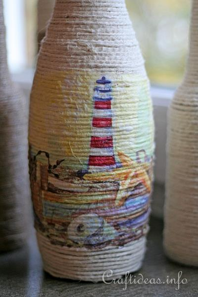 Recycling Craft and Paper Napkin Decoupage - Bottle Vase 2