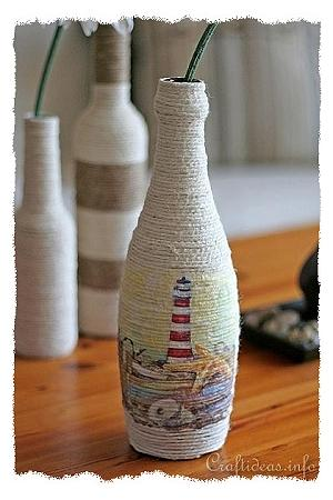 Recycling Craft and Paper Napkin Decoupage - Bottle Vase