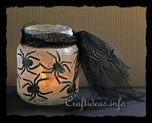 Recycling Craft for Halloween - Spider Tea Light Votive