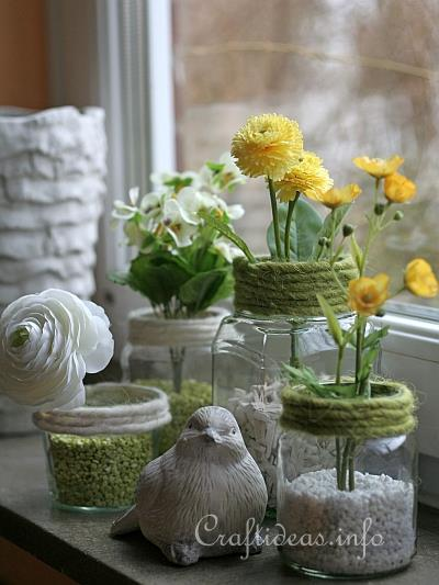 Recycling Craft for Spring - Jar Flower Vases 1