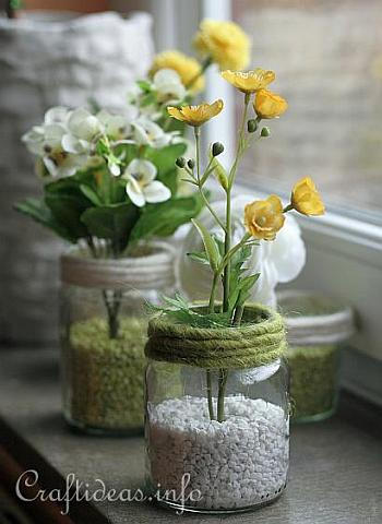 Recycling Craft for Spring - Jar Flower Vases 2