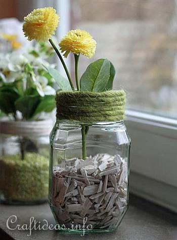 Recycling Craft for Spring - Jar Flower Vases 3