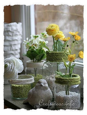 Recycling Craft for Spring - Jar Flower Vases