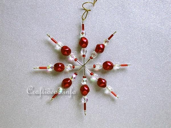 Red Beaded Star or Snowflake Ornament for the Christmas Tree