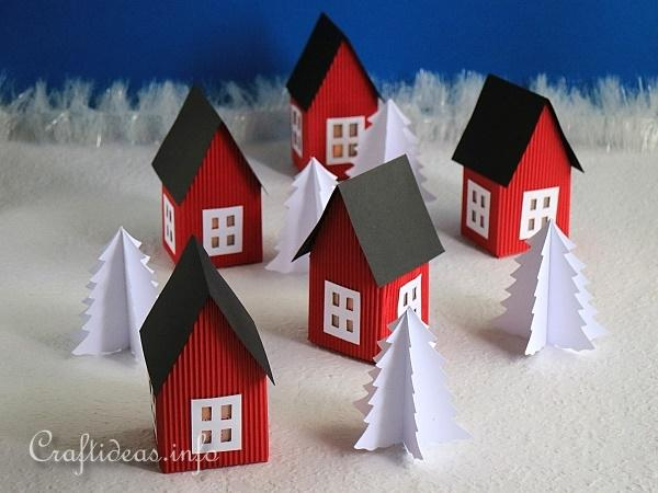 Red Scandinavian Inspired Paper Houses