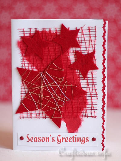 Red Stars Christmas Card