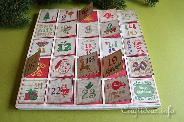 Calendar Craft Projects : Christmas paper craft scrapbook advent calendar on