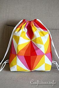 Sewing Craft - Fabric Drawstring Backpack for Kids - closed