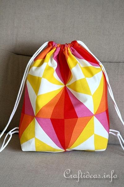 Sewing Craft - Fabric Drawstring Backpack for Kids - open