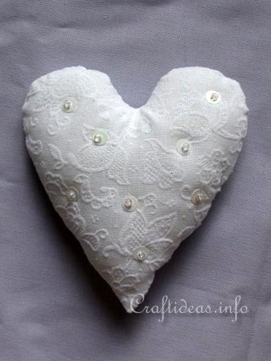 Sewing Craft Project - Lacy Heart Pincushion