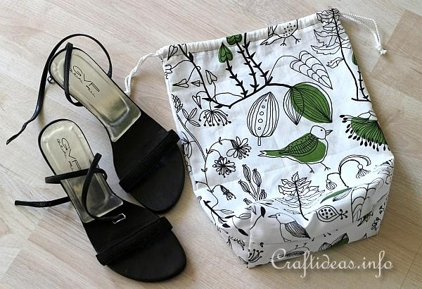 Sewing Craft for Spring - Fabric Drawstring Shoe Bag Project 2