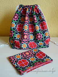 Sewing Project - Drawstring Bag and Purse Organizer